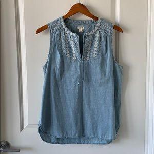 J. Crew Factory Chambray Embroidered Top